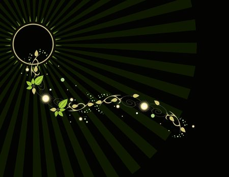 Black background with leaf and ray glowing elements