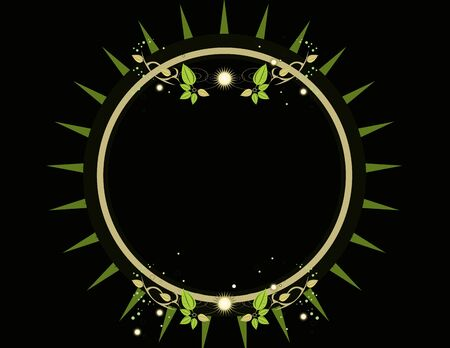Circular frame element with glowing design elements Stock Photo