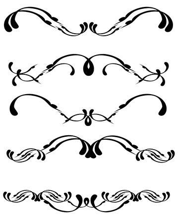 ornamentations: Nero progettazione elementi isolati su bianco Archivio Fotografico