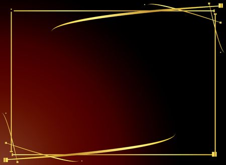 metallic background:  Elegant gold frame on a red gradient background Stock Photo
