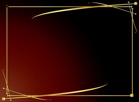 Elegant gold frame on a red gradient background Banque d'images