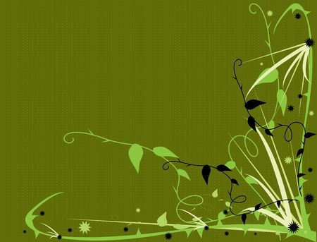 Green thorny floral design on a green background