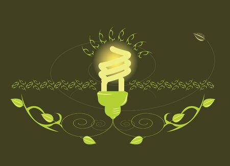 Glowing light bulb design on brown background