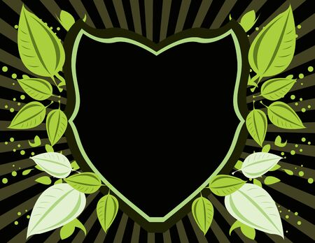 Green and black shield on a ray background