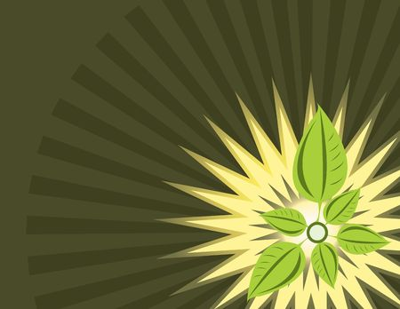 Ray background with leaf design in lower right corner Stock Photo