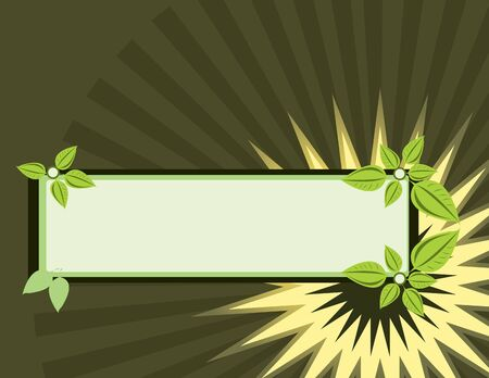Rectangular leaf banner on a brown background Stock Photo
