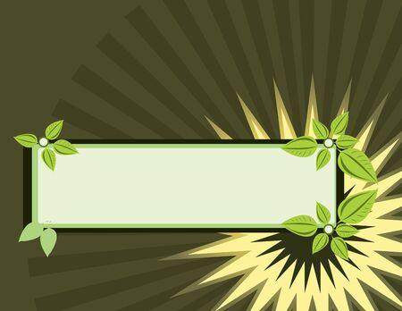Rectangular leaf banner on a brown background Banco de Imagens