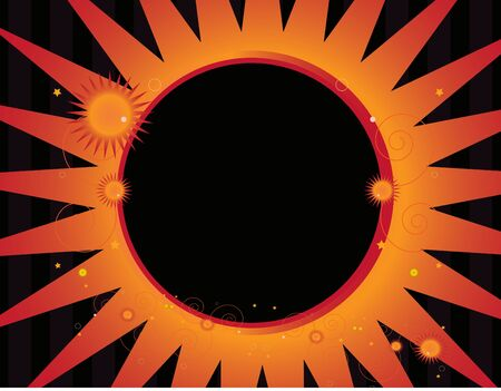 Abstract sun frame with smaller sun designs on a striped background