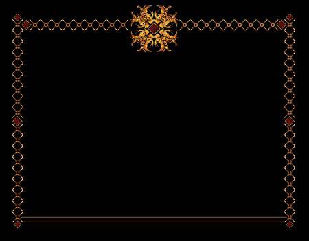 Gold elegant frame design on a black background Фото со стока