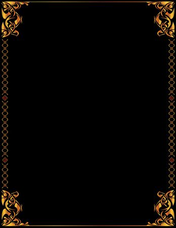 Gold elegant frame design on a black background Stock Photo
