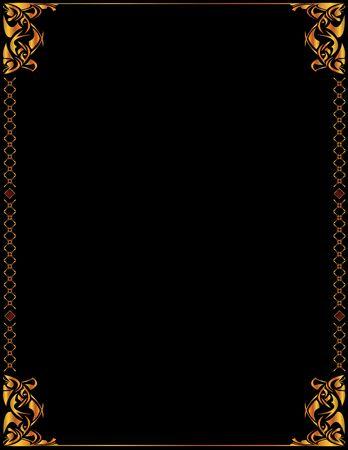 Oro elegante marco de un diseño en fondo negro Foto de archivo - 3536580