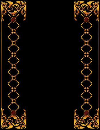shiny gold: Gold elegant border design on a black background