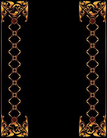 Gold elegant border design on a black background