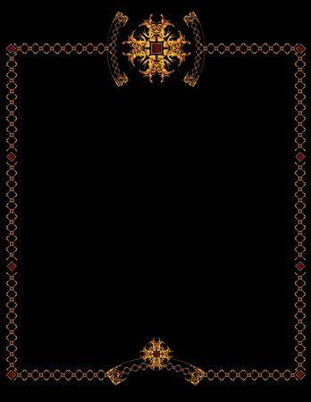 黒い背景にエレガントなゴールドのフレーム デザイン