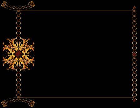Gold elegant frame design on a black background Stock Photo