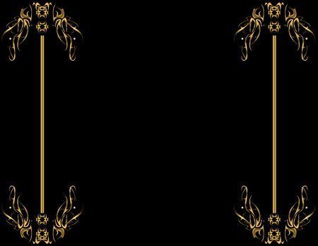 左側と右側の黒い背景の上にゴールド デザイン