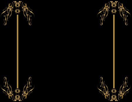 Gold designs on left and right sides of black background