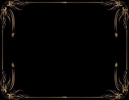 Gold frame on a black background with room for copy Stock Photo - 3599488
