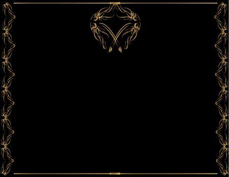 Diseño del marco de oro con fondo negro Foto de archivo - 3599493