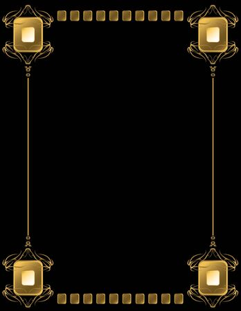 Gold frame with abstract curve pieces on a black background Stock Photo