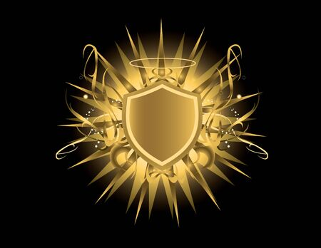 Gold shield with glow on a black background