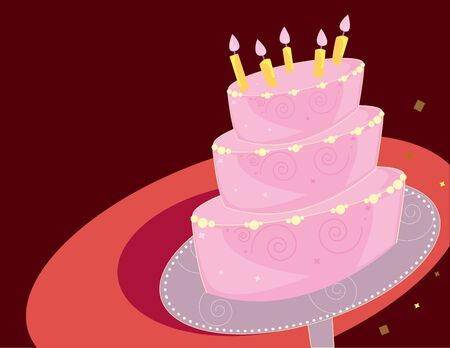 Pink layer birthday cake on a red background