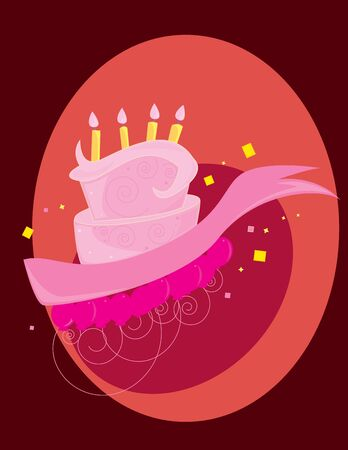 Pink birthday cake on a red background with balloons