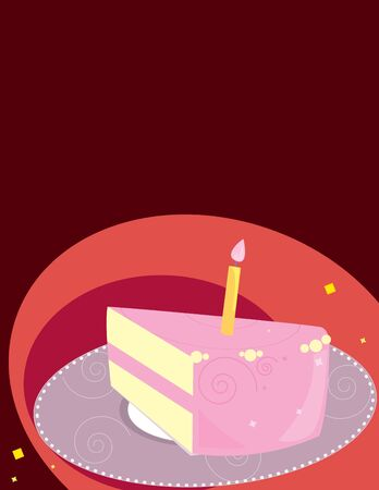 Pink birthday cake slice on a red background