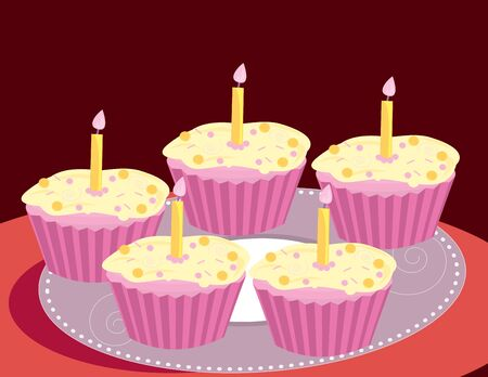 Pink cupcakes on a red background Imagens