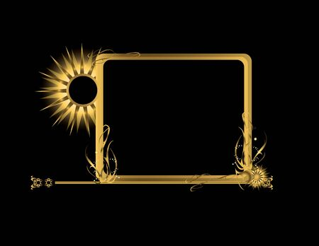Abstract gold frame element on a black background