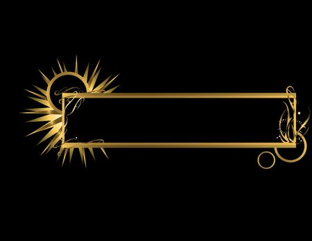 Gold abstract banner on a black background Stok Fotoğraf - 3853185