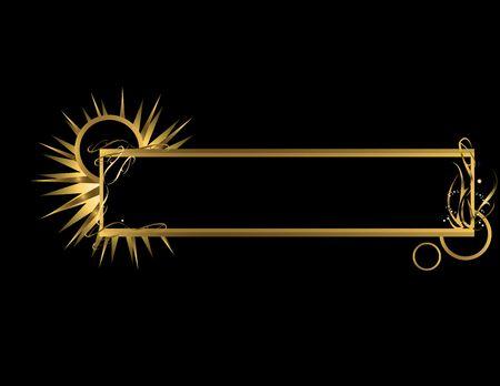 Resumen banner de oro sobre fondo negro Foto de archivo - 3853185