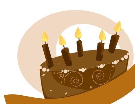 Chocolate birthday cake on a white background