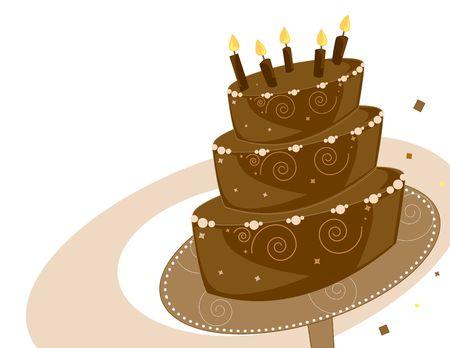 Couche de chocolat gâteau d'anniversaire Banque d'images - 3891737