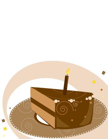 Chocolate birthday cake  slice on a white background Imagens