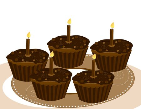 Chocolate  cupcakes on a white background