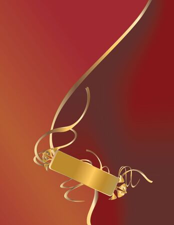 Gold ribbon design on a red background Stock Photo