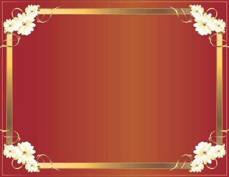Gold floral frame on a red background