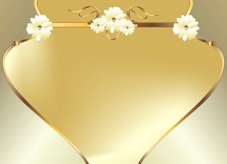 Gold floral design on a white  background