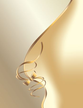 Gold ribbon design on a white background Stock Photo