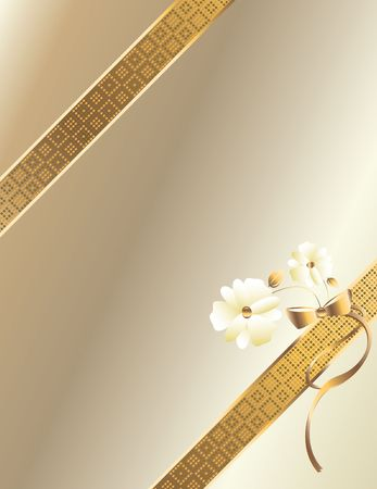 Gold ribbon  with flowers on a white background photo