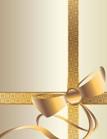 Gold ribbon and bow on a white background