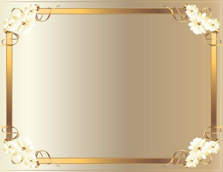 Gold floral frame on a white background