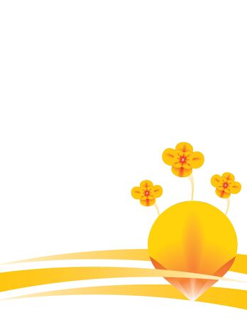Orange flower and abstract design on a white background Stock Photo