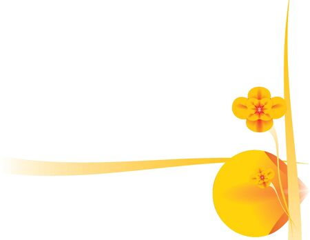 understated: Orange flower and abstract design on a white background Stock Photo