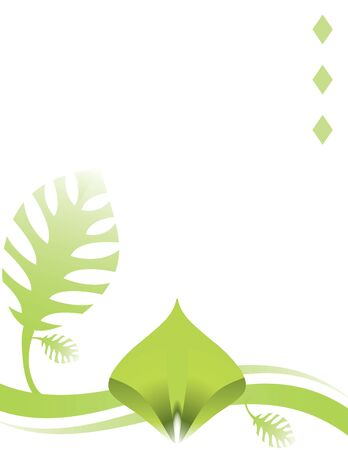 understated: Green leaf and abstract design on a white background