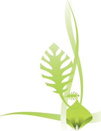 Green leaf and abstract design on a white background