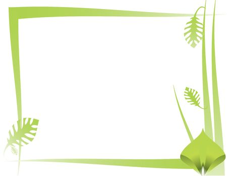 緑の葉と白い背景の上の抽象的なフレーム デザイン