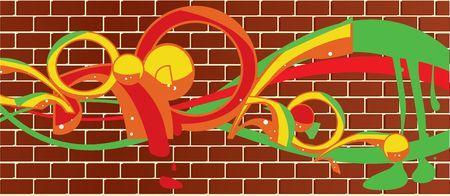 falta de respeto: Graffiti en una pared de ladrillo de fondo