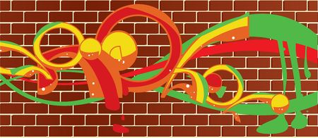 Graffitti on a brick wall background Stock Photo